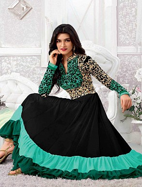 THANKAR KRITI SENON NEW AQUA DESIGNER ANARKALI SUITS @ Rs1297.00